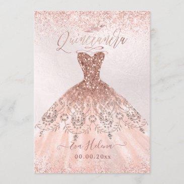 quinceañera, princess faux rose gold tiara+gown invitation