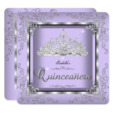 quinceanera purple lavender silver diamond tiara 3 invitations