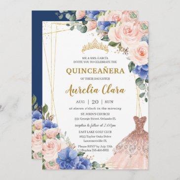 quinceañera royal blue blush floral tiara dress invitation