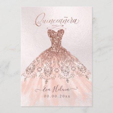 quinceañera, sparkle gown, faux rose gold invitations