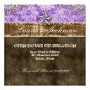 quinceanera vintage photo invitations star purple