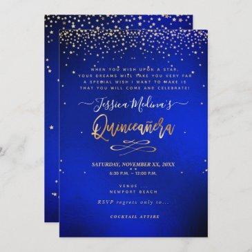 quinceañera, written in the star, blue velvet invitation