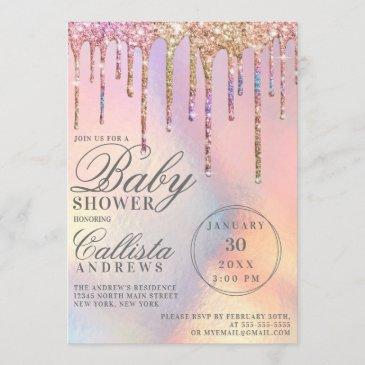 rainbow holographic glitter drips baby shower invitation