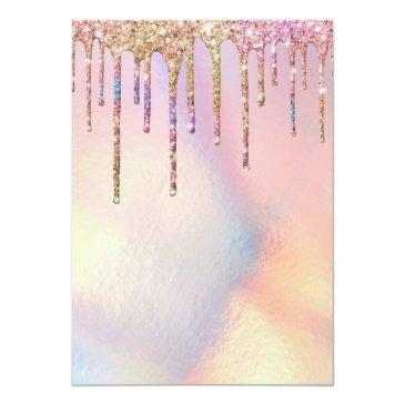 Small Rainbow Holographic Glitter Drips Baby Shower Invitation Back View