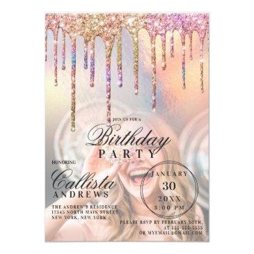 rainbow holographic glitter drips photo birthday invitation