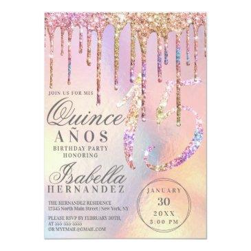 Small Rainbow Holographic Glitter Drips Quinceañera Invitation Front View