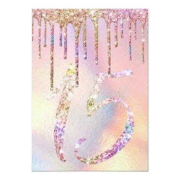 Small Rainbow Holographic Glitter Drips Quinceañera Invitation Back View