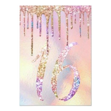 Small Rainbow Holographic Glitter Drips Sweet 16 Invitation Back View