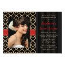 red and black gold moroccan sweet sixteen photo invitations