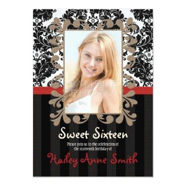Small Red And Black Vintage Lace Damask Sweet Sixteen Front View