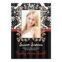 red and black vintage lace damask sweet sixteen invitations