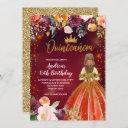 red and gold mexican princess quinceañera birthday invitation