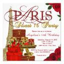 red and gold paris sweet 16 party invitation