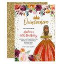 red and gold princess floral quinceañera birthday invitation