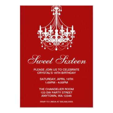 red and white chandelier sweet sixteen birthday invitation