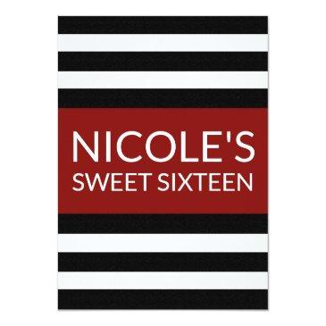 Small Red Black And White Striped Sweet 16 Birthday Front View