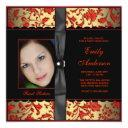 red black gold damask photo sweet 16 party invitations