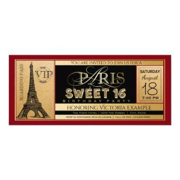red black gold paris sweet 16 ticket invitations