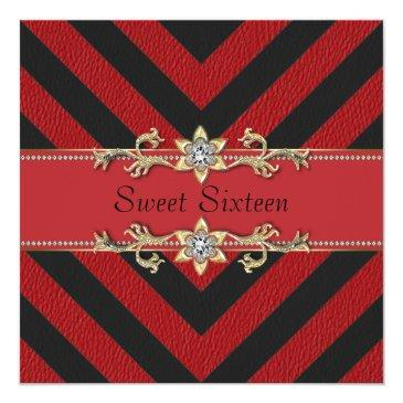 Small Red Black Sassy Stripe Sweet Sixteen Invitation Front View