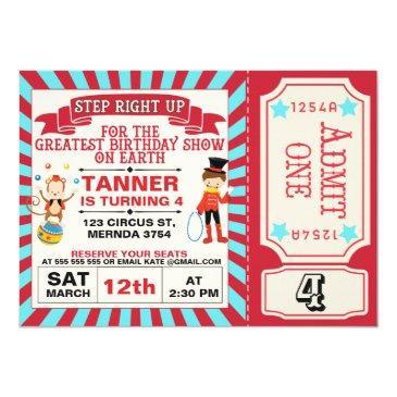 red blue circus ticket birthday