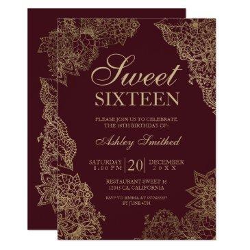 red burgundy gold floral elegant sweet sixteen invitation