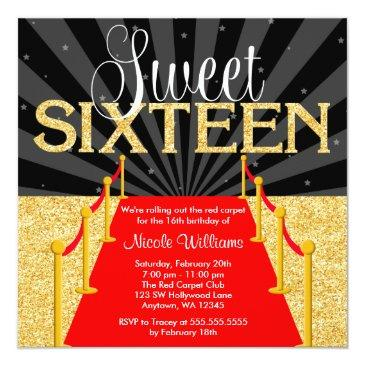 Small Red Carpet Gold Glam Hollywood Sweet 16 Birthday Invitations Front View