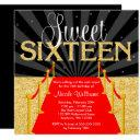 red carpet gold glam hollywood sweet 16 birthday invitation