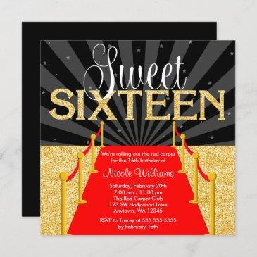 red carpet gold glam hollywood sweet 16 birthday invitation