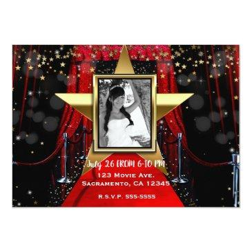 Small Red Carpet Hollywood Gold Stars Photo Party Invitation Back View