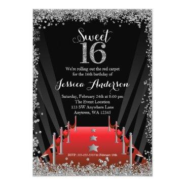 red carpet hollywood silver glitter sweet 16