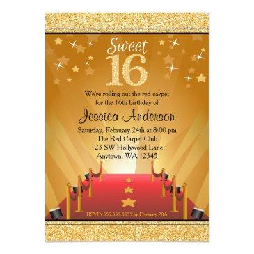 Small Red Carpet Hollywood Star Gold Sweet 16 Birthday Invitations Front View