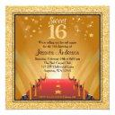red carpet hollywood star gold sweet 16 birthday invitation