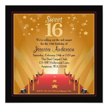 Small Red Carpet Hollywood Star Sweet 16 Birthday Invitations Front View