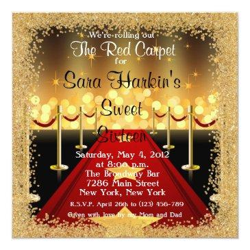 Small Red Carpet Hollywood Sweet 16 Birthday Invite Front View