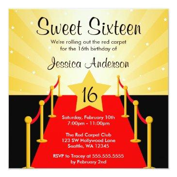 Small Red Carpet Hollywood Sweet 16 Birthday Party Invitations Front View
