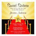 red carpet hollywood sweet 16 birthday party invitation