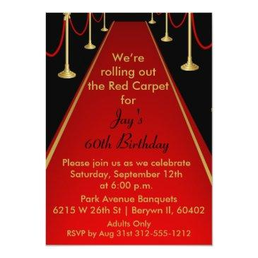 Small Red Carpet Invitation Hollywood Theme Sweet 16 Front View