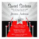 red carpet silver hollywood sweet 16 birthday invitation