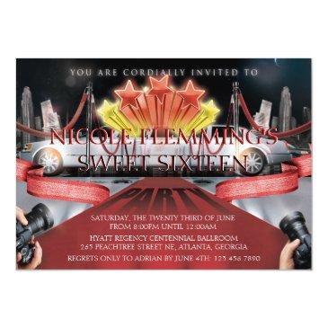 Small Red Carpet Sweet Sixteen Invitation Front View