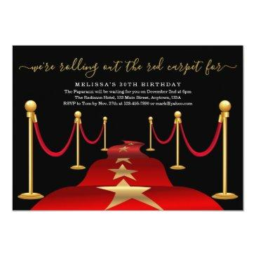 Small Red Carpet Themed Party With Faux Gold Foil Invitations Front View