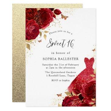 red dress & roses gold glitter sweet 16 invitation