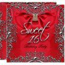red elegant sweet sixteen sweet 16 party invitation