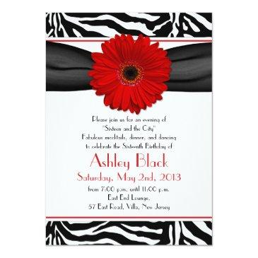 Small Red Gerber Daisy Black White Zebra Print Sweet 16 Invitations Front View