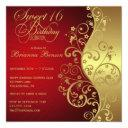 red & gold 16th birthday party invitations