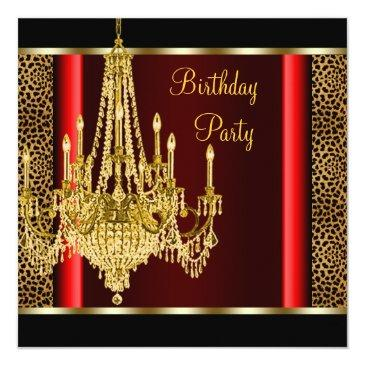 red gold chandelier leopard birthday party invitation