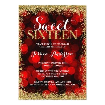 Small Red Gold Faux Glitter Lights Sweet 16 Birthday Invitations Front View