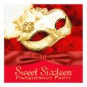 red gold feather masquerade party invitations