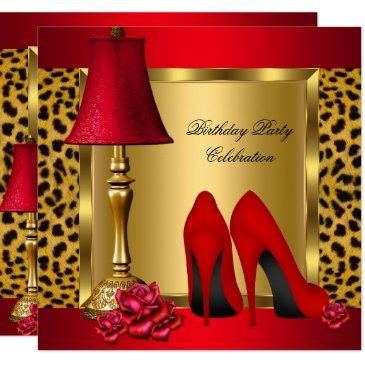 red gold high heels roses leopard birthday party 2 invitations