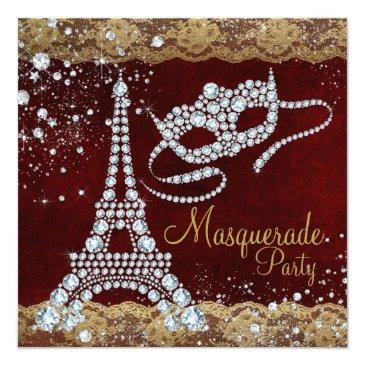 Small Red Gold Paris Masquerade Party Invitations Front View