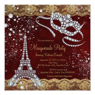 Small Red Gold Paris Masquerade Party Invitations Back View
